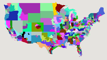 Random colouring of US House Districts