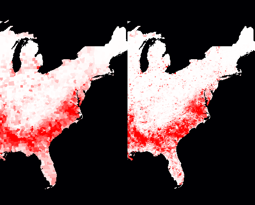 Percent of population that is black; by counties on left, by census tracts on the right
